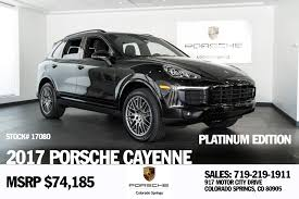 porsche suv price 2017 porsche cayenne platinum edition for sale in colorado springs