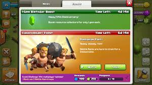image for clash of clans clash of clans 5th anniversary event starts with gem and resource sale