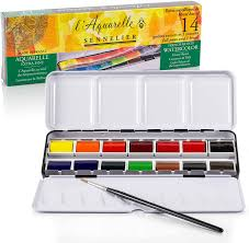 what of paint do you use on metal cabinets sennelier l aquarelle professional watercolor paint set 14 pans with portable metal palette box master artist grade high honey content