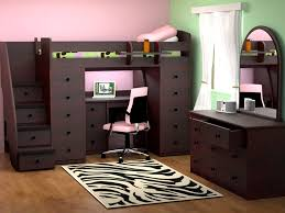 bedroom classic bunk bed with grey tone combining the desk with