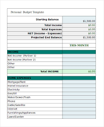 Free Excel Personal Budget Template Free Personal Budget Template 9 Free Excel Pdf Documents