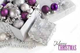 Silver And White Christmas Decorations Silver And Purple Christmas Ornaments Border On White Background