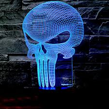 3d punisher skull lighting by playtime 123 is a great nightlight