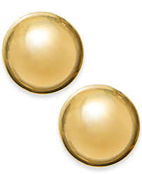gold stud earings 14k gold earrings 12mm domed stud earrings earrings