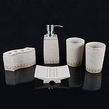 bathroom shoo holder aimone 5 pcs bathroom accessories set natural sand stone bath