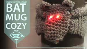 halloween diy crochet a bat mug cosy with led lights youtube