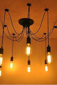 Lighting Chandeliers Modern Fuloon Vintage Edison Multiple Ajustable Diy Ceiling Spider Lamp