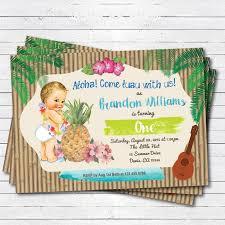 hawaiian luau boy 1st first birthday invitation by crazylime