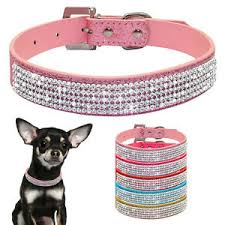 dog necklace leather images Bling rhinestone sequins pu leather pet dog collars fancy jpg