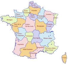 French Map Map Showing The Basic Outline Of All 22 Regions Of France