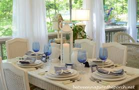 Dining Room Table Setting Dishes Blue And White Nautical Or Themed Table Setting Tablescape