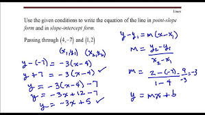 write an equation in slope intercept form given two points