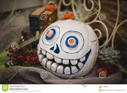 white scary painted halloween pumpkin stock photo image 61485033