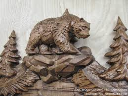 3d model for cnc wood carving walking bears