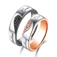 rings love couple images Endless love white and black sapphire s925 silver rose gold couple jpg