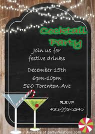 chalkboard on wood cocktail party invitations christmas cocktail