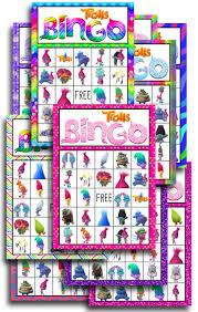 Printable Halloween Bingo by Trolls Free Printable Bingo Cards Trolls Birthday Party Game