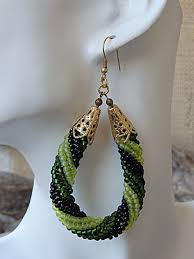 hoop beaded earrings u boutique shops handmade green hoop drop earrings green beaded