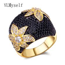 large finger rings images Large black and gold flower ring studded in cz crystals trend jpg
