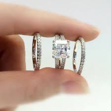 promise ring engagement ring and wedding ring set vintage 1 2 ct cushion cut diamond from candyblady on etsy