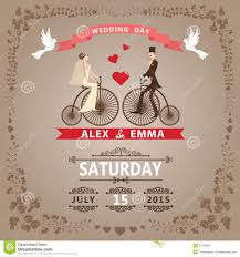 wedding card design template free download wedding invitation with bride groom retro bicycle floral frame