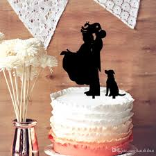 2017 funny wedding cake topper groom lifting bride with dog