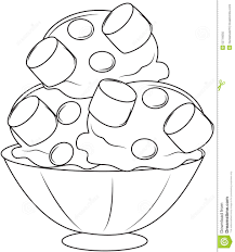 ice cream with marshmallows coloring page stock illustration