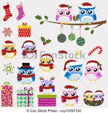 vectors of owl family christmas set csp11697134 search clip art