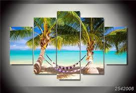 chambre de d馗ompression hd imprimé tropical plage hamac groupe peinture impression sur toile