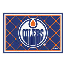 Nhl Area Rugs Fanmats Nhl Edmonton Oilers Blue 5 Ft X 8 Ft Indoor Area Rug