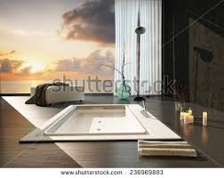 Sunken Bathtub Romantic Sunken Bathtub Dark Accented Modern Stock Illustration