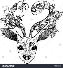 illustration deer peacock feathers horns black stock vector