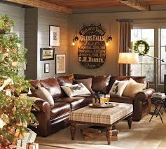 chocolate brown leather sectional w round ottoman home decor