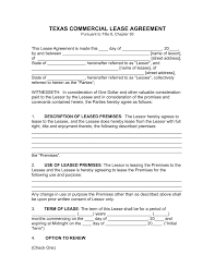 Commercial Lease Letter Of Intent Sample by Free Texas Commercial Lease Agreement Template Pdf Word