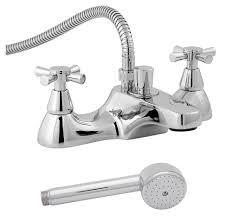milan chrome deck mounted bath shower mixer tap with kit