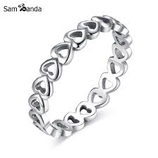 linked wedding rings aliexpress buy silver plated fashion european hollow linked