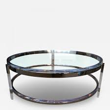 charles hollis jones round coffee table in lucite nickel by