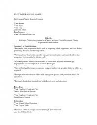 Resume Samples For Server Position by Cover Letter Server Resume Objective Examples Cocktail Server