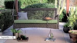 belham living asheville 4 ft resin wicker porch swing with