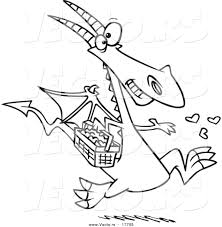 vector of a cartoon dragon spreading love coloring page outline