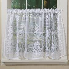 Lace Cafe Curtains Lace Cafe Curtains By The Yard White Sheer For Kitchen