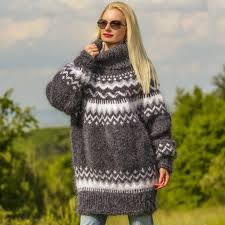 sweaters hand knitted icelandic mohair sweater in bluish
