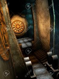 steampunk room with clock and metal walls stock photo picture and