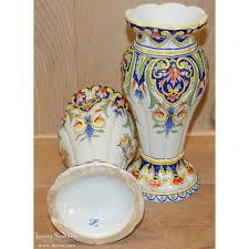 Porcelain Flower Vases Pair Hand Painted Porcelain Flower Vases From Rouen Inessa