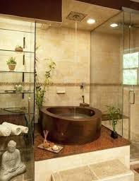 unique zen bathroom decoration idea with interesting wall