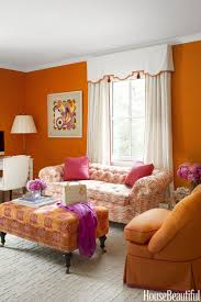 Orange Living Room Decor Living Room Orange Wall Accent Orange Sofa Purple Pillows Gray