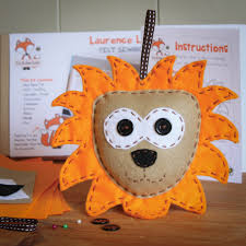 laurence the lion felt sewing kit perfect for kids and adults of
