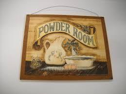 Wall Art For Powder Room - amazon com powder room wooden bathroom wall art sign bath decor