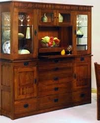 mission style deluxe 3 bay china cabinet