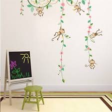 Monkey Decorations For Nursery Monkeys Hanging On Tree Flower Vine Wall Stickers For
